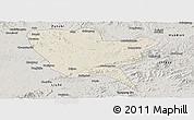 Shaded Relief Panoramic Map of Huinan, semi-desaturated
