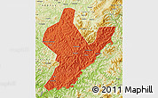 Political Map of Ji An, physical outside