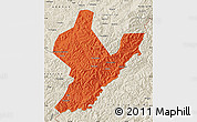 Political Map of Ji An, shaded relief outside