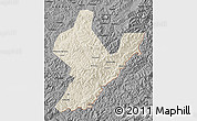 Shaded Relief Map of Ji An, darken, desaturated
