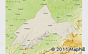 Shaded Relief Map of Liuhe, physical outside