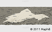 Shaded Relief Panoramic Map of Liuhe, darken