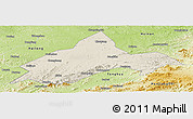 Shaded Relief Panoramic Map of Liuhe, physical outside