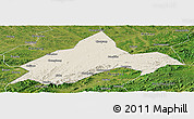 Shaded Relief Panoramic Map of Liuhe, satellite outside