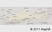 Shaded Relief Panoramic Map of Liuhe, semi-desaturated