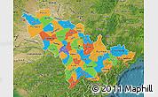 Political Map of Jilin, satellite outside