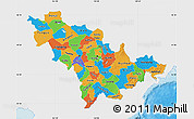 Political Map of Jilin, single color outside
