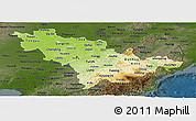 Physical Panoramic Map of Jilin, darken