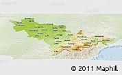 Physical Panoramic Map of Jilin, lighten