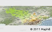 Physical Panoramic Map of Jilin, semi-desaturated