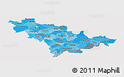 Political Shades Panoramic Map of Jilin, cropped outside