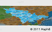 Political Shades Panoramic Map of Jilin, darken