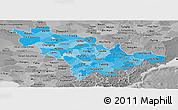 Political Shades Panoramic Map of Jilin, desaturated