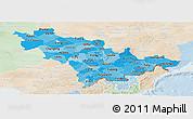 Political Shades Panoramic Map of Jilin, lighten