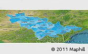 Political Shades Panoramic Map of Jilin, satellite outside