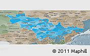 Political Shades Panoramic Map of Jilin, semi-desaturated