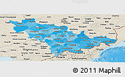 Political Shades Panoramic Map of Jilin, shaded relief outside