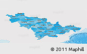 Political Shades Panoramic Map of Jilin, single color outside