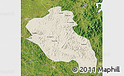 Shaded Relief Map of Panshi, satellite outside