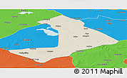Shaded Relief Panoramic Map of Qiangorlos, political outside