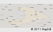 Shaded Relief Panoramic Map of Qiangorlos, semi-desaturated
