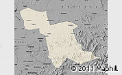 Shaded Relief Map of Shulan, darken, desaturated