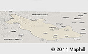 Shaded Relief Panoramic Map of Taoan, semi-desaturated