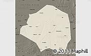 Shaded Relief Map of Yushu, darken