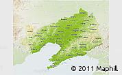 Physical 3D Map of Liaoning, lighten