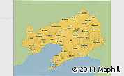 Savanna Style 3D Map of Liaoning, single color outside