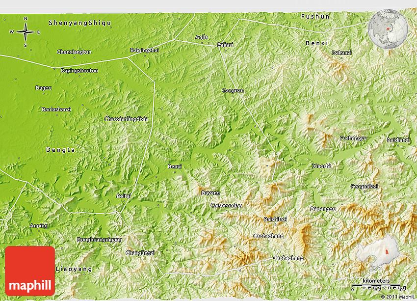 Physical D Map Of Benxi Shiqu - Benxi map