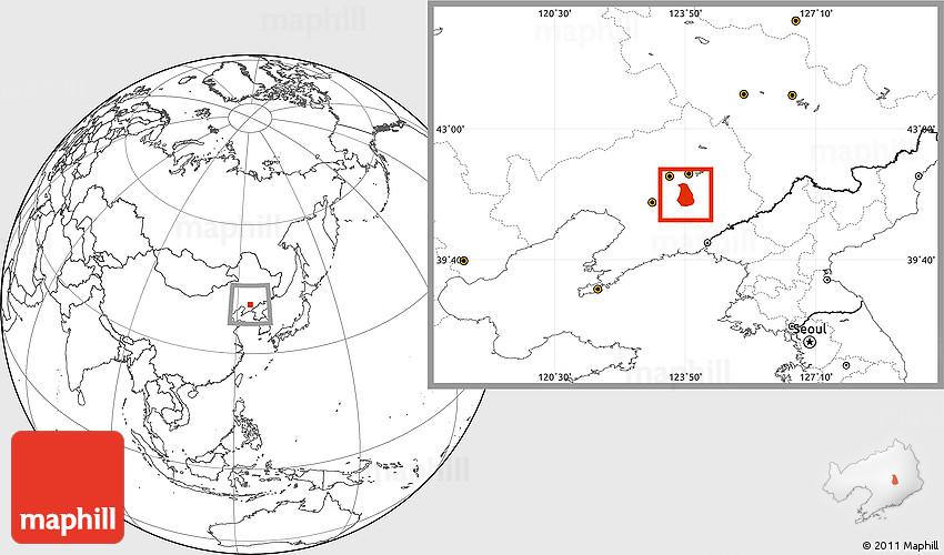Blank Location Map Of Benxi Shiqu - Benxi map