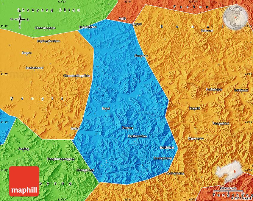Political Map Of Benxi Shiqu - Benxi map