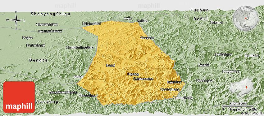 Savanna Style Panoramic Map Of Benxi Shiqu - Benxi map