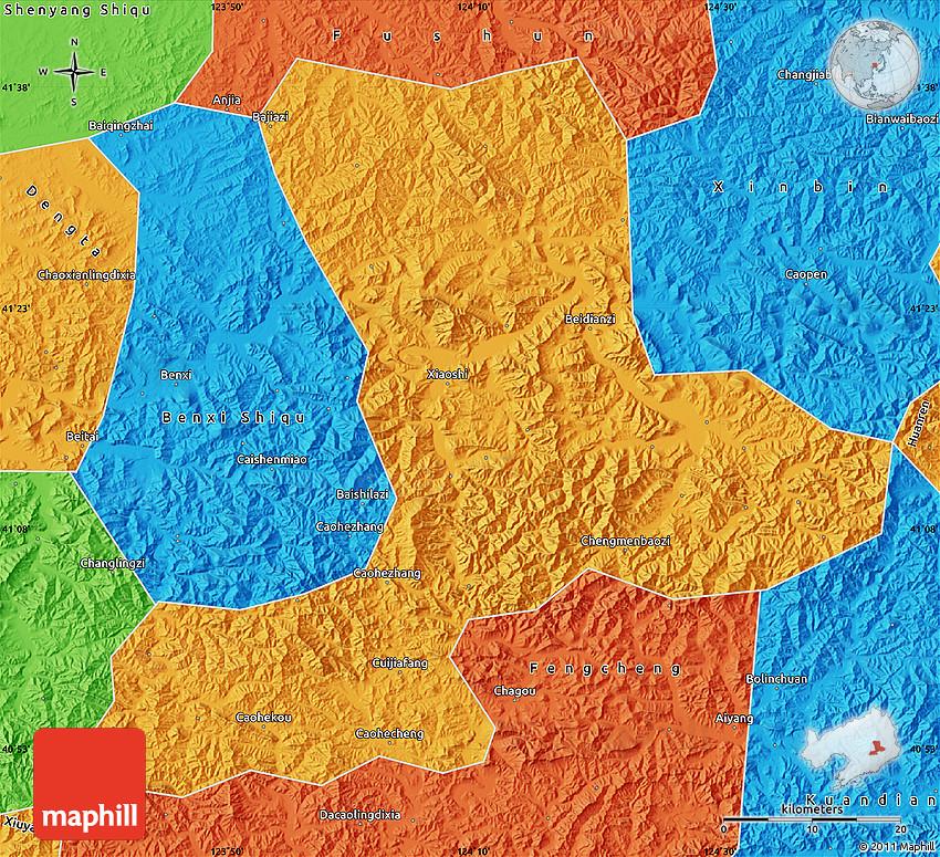 Political Map Of Benxi - Benxi map