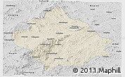 Shaded Relief Panoramic Map of Chaoyang, desaturated