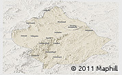 Shaded Relief Panoramic Map of Chaoyang, lighten
