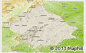 Shaded Relief Panoramic Map of Chaoyang, physical outside