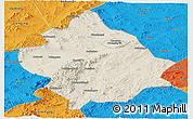 Shaded Relief Panoramic Map of Chaoyang, political outside