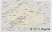 Shaded Relief Panoramic Map of Chaoyang, semi-desaturated