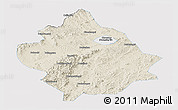 Shaded Relief Panoramic Map of Chaoyang, single color outside