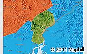 Satellite Map of Dandong Shiqu, political outside