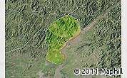 Satellite Map of Dandong Shiqu, semi-desaturated