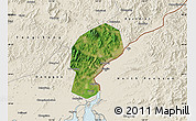 Satellite Map of Dandong Shiqu, shaded relief outside