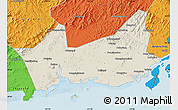 Shaded Relief Map of Donggou, political outside