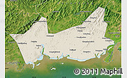 Shaded Relief Map of Donggou, satellite outside