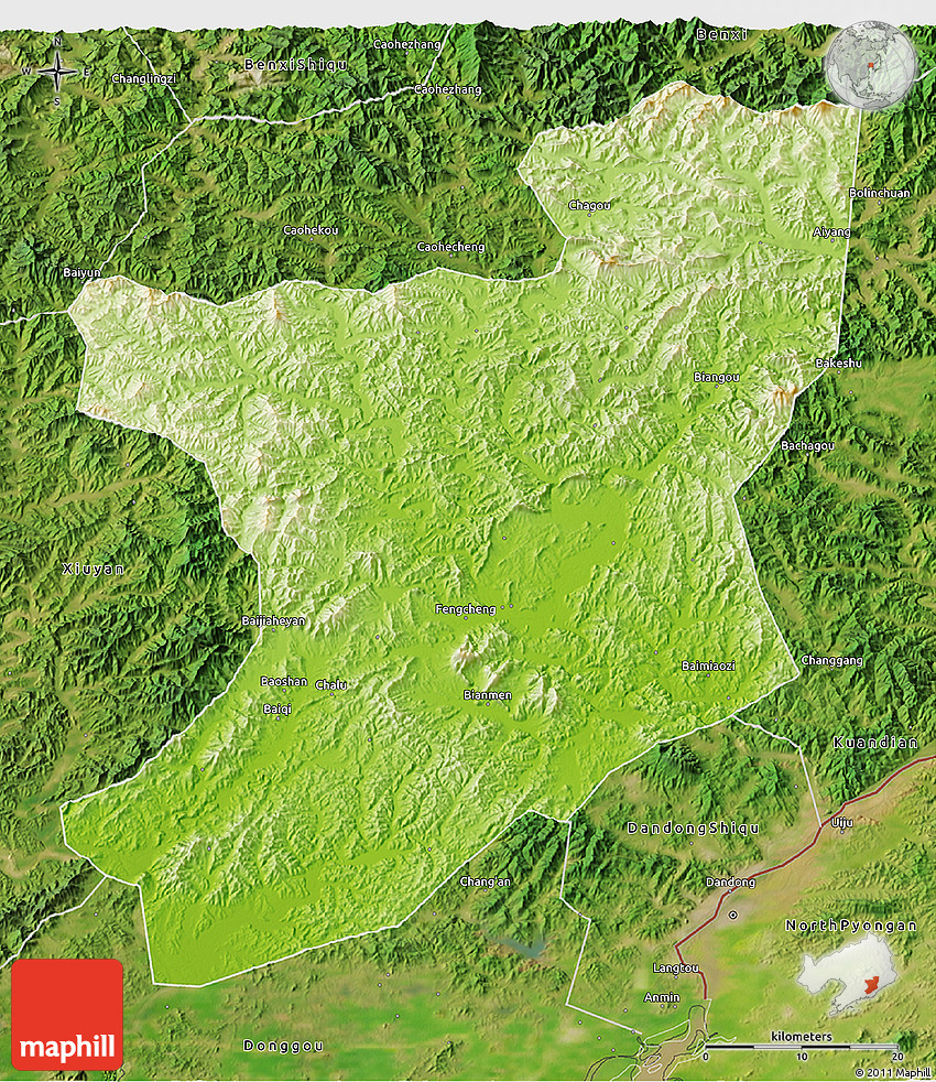 Physical D Map Of Fengcheng Satellite Outside - Fengcheng map