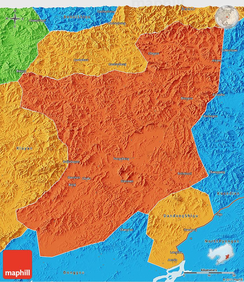 Political D Map Of Fengcheng - Fengcheng map
