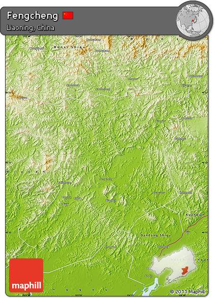Free Physical Map Of Fengcheng - Fengcheng map
