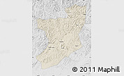Shaded Relief Map of Fengcheng, lighten, desaturated